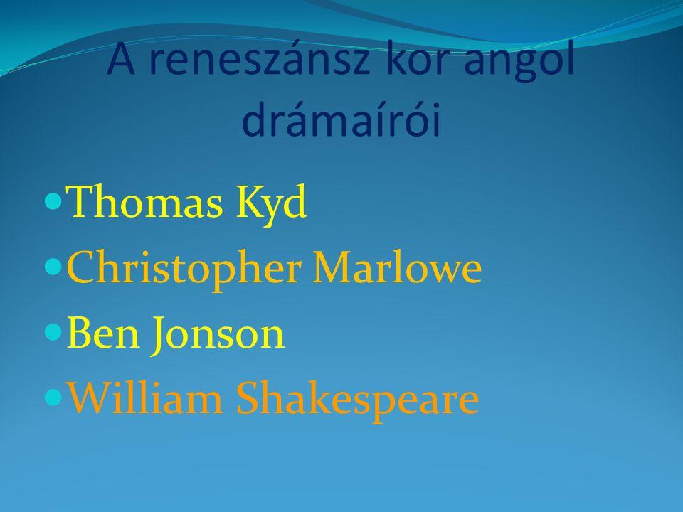 A reneszánsz kor angol drámaírói