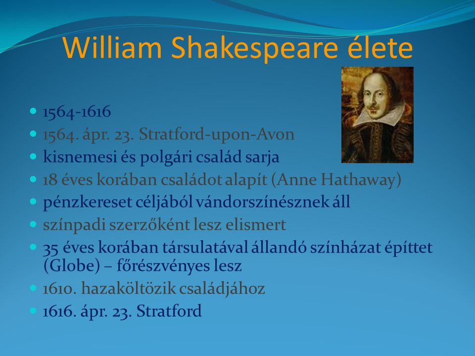 William Shakespeare élete