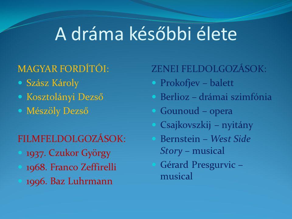 A dráma későbbi élete MAGYAR FORDÍTÓI: Szász Károly Kosztolányi Dezső