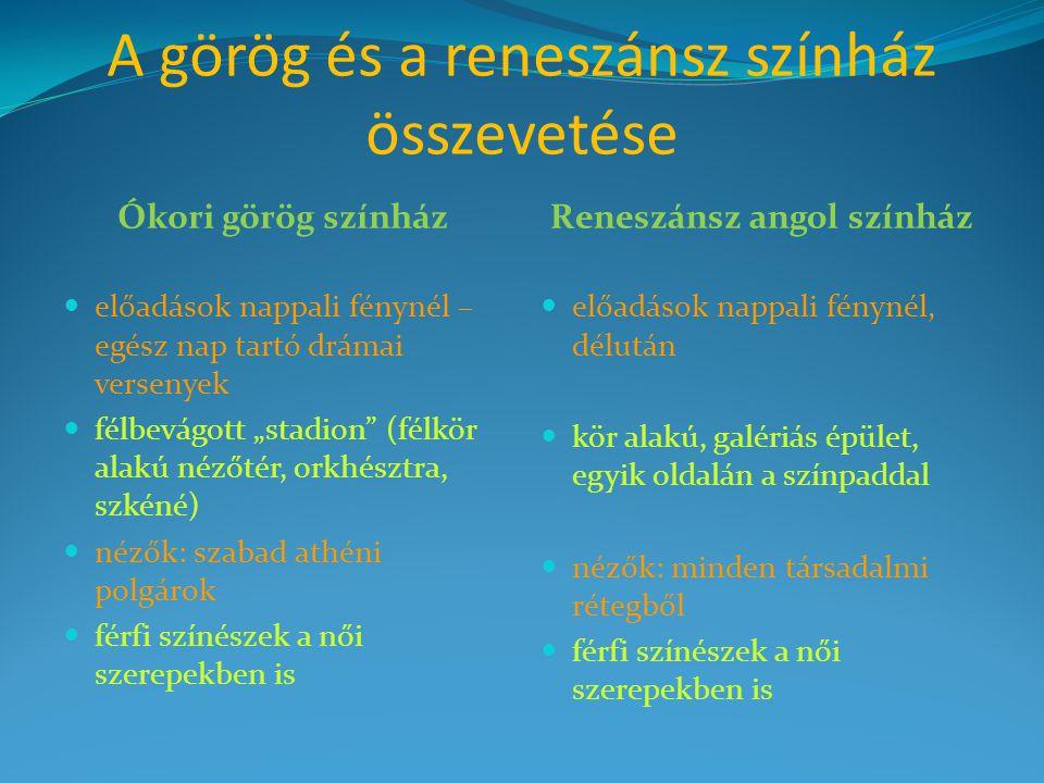 A görög és a reneszánsz színház összevetése