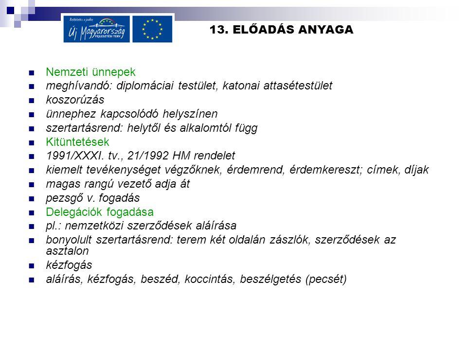 13. ELŐADÁS ANYAGA Nemzeti ünnepek. meghívandó: diplomáciai testület, katonai attasétestület. koszorúzás.