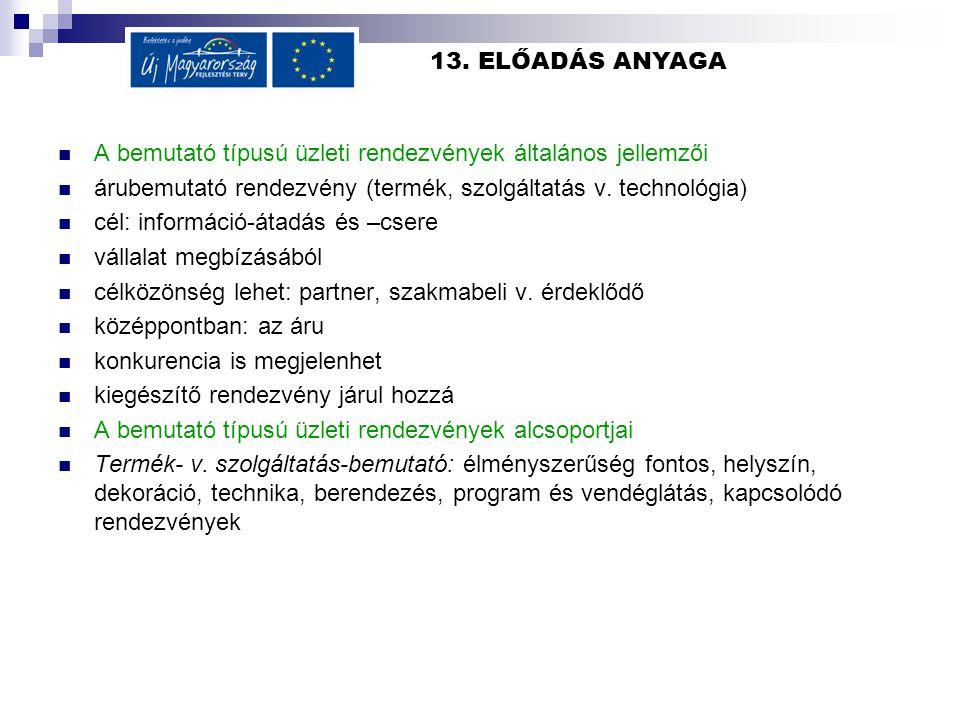 13. ELŐADÁS ANYAGA A bemutató típusú üzleti rendezvények általános jellemzői. árubemutató rendezvény (termék, szolgáltatás v. technológia)