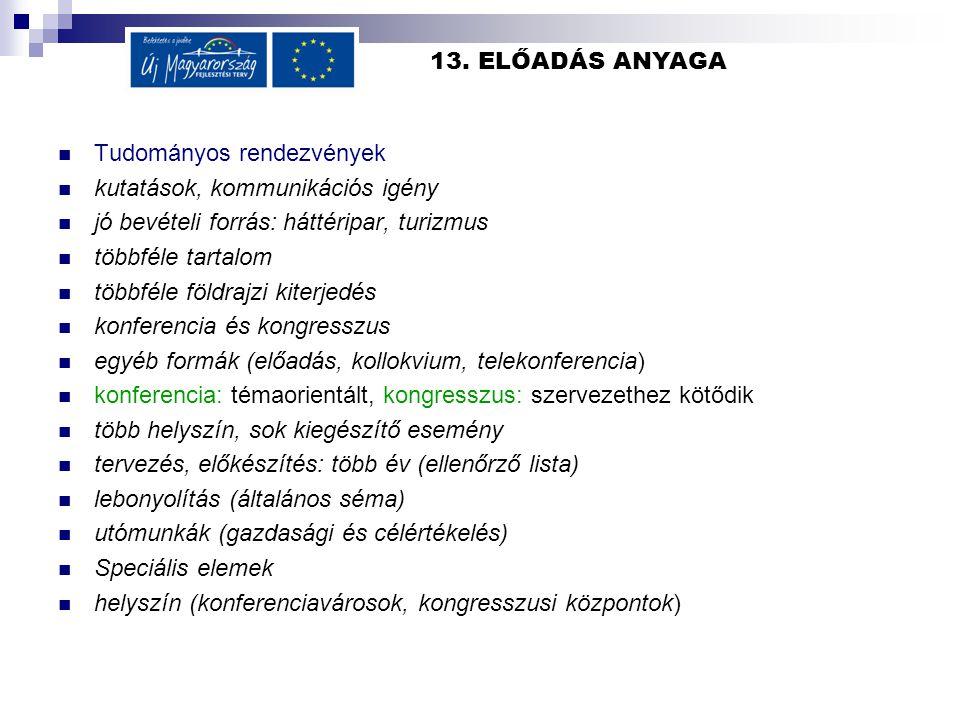 13. ELŐADÁS ANYAGA Tudományos rendezvények. kutatások, kommunikációs igény. jó bevételi forrás: háttéripar, turizmus.