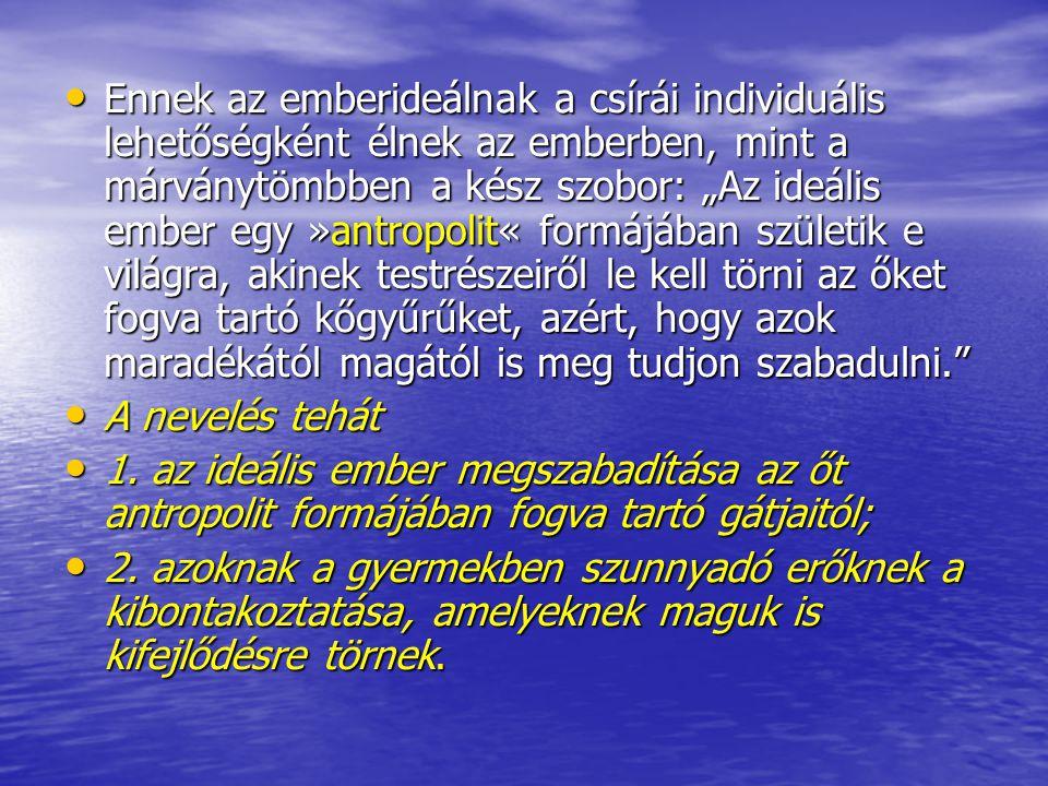 """Ennek az emberideálnak a csírái individuális lehetőségként élnek az emberben, mint a márványtömbben a kész szobor: """"Az ideális ember egy »antropolit« formájában születik e világra, akinek testrészeiről le kell törni az őket fogva tartó kőgyűrűket, azért, hogy azok maradékától magától is meg tudjon szabadulni."""