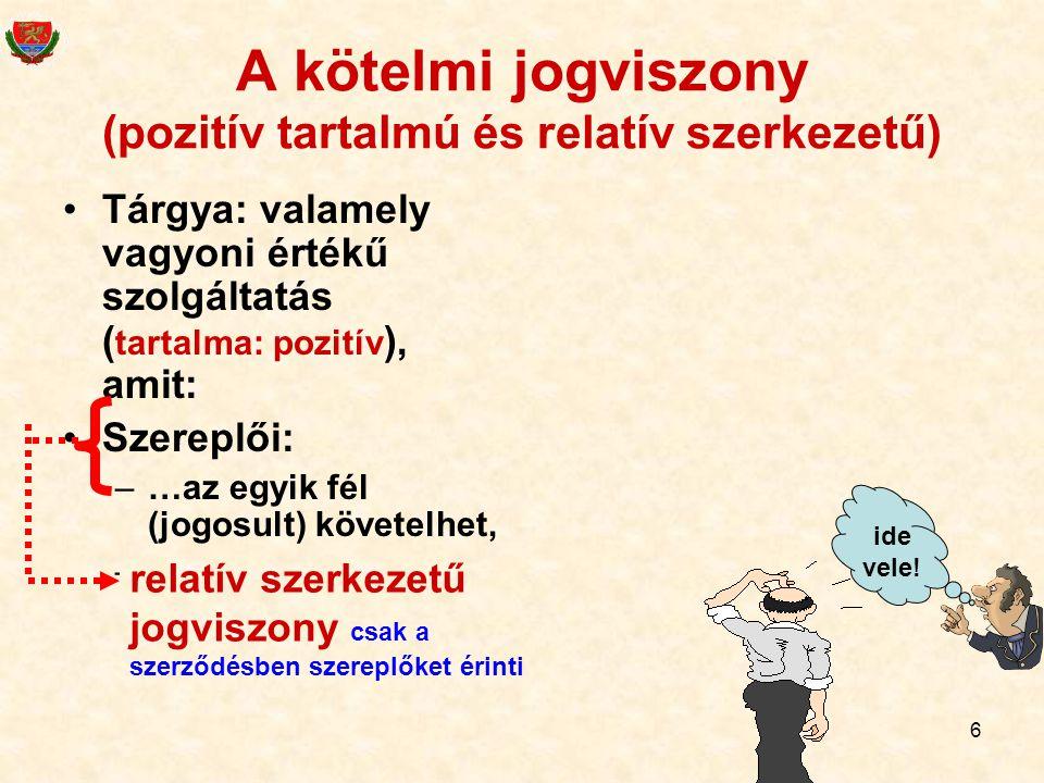 A kötelmi jogviszony (pozitív tartalmú és relatív szerkezetű)