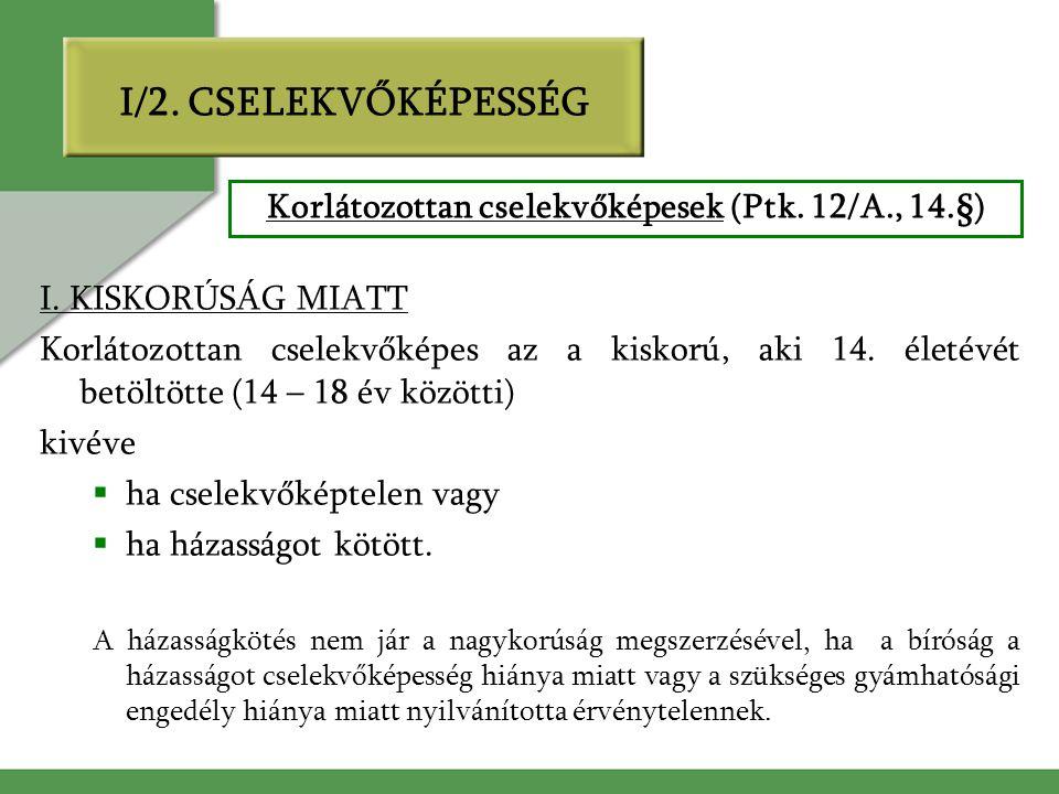 Korlátozottan cselekvőképesek (Ptk. 12/A., 14.§)