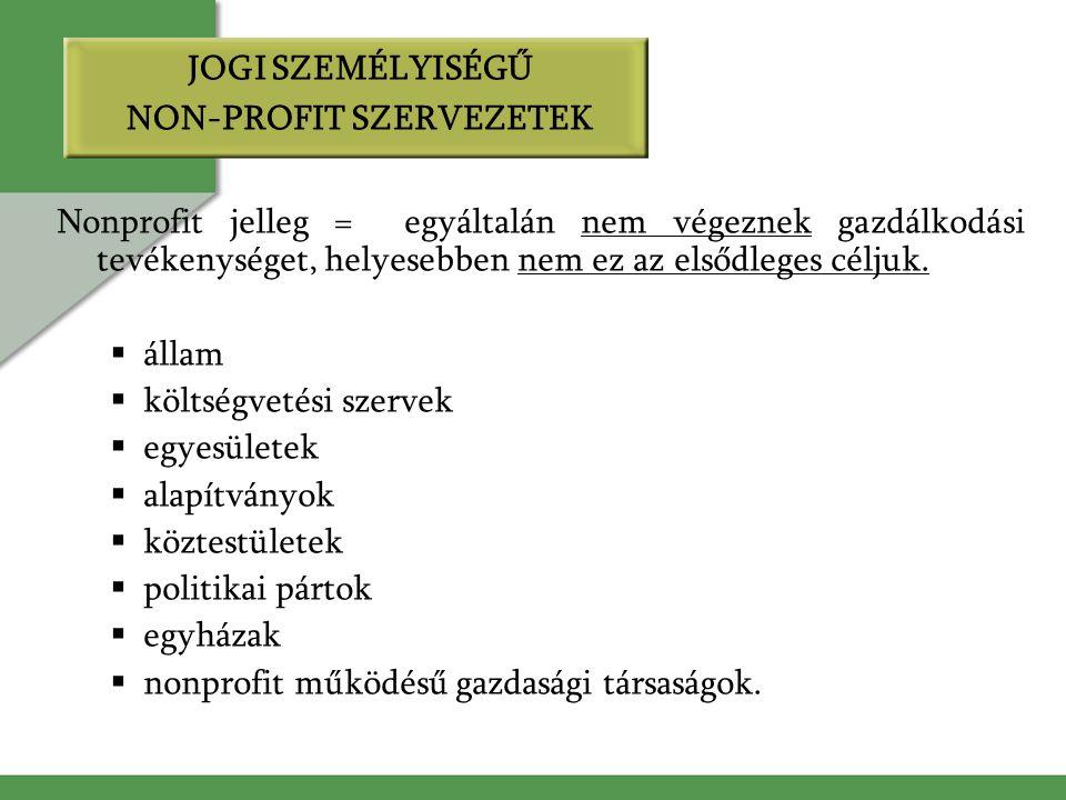 JOGI SZEMÉLYISÉGŰ NON-PROFIT SZERVEZETEK