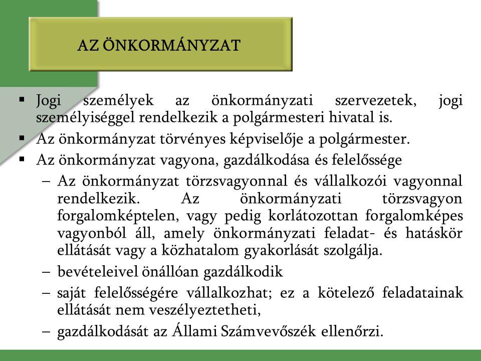 AZ ÖNKORMÁNYZAT Jogi személyek az önkormányzati szervezetek, jogi személyiséggel rendelkezik a polgármesteri hivatal is.