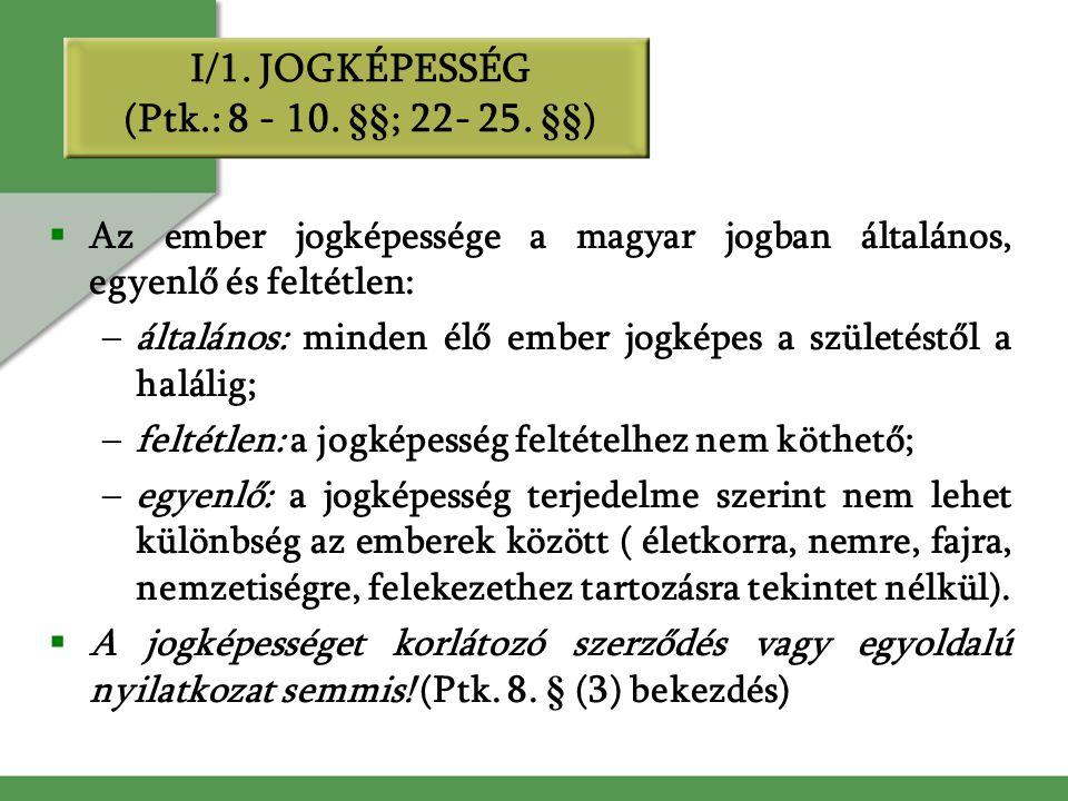 I/1. JOGKÉPESSÉG (Ptk.: 8 - 10. §§; 22- 25. §§)