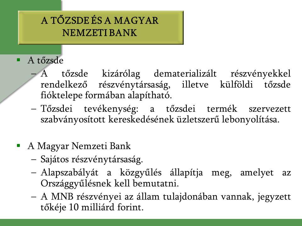 A TŐZSDE ÉS A MAGYAR NEMZETI BANK