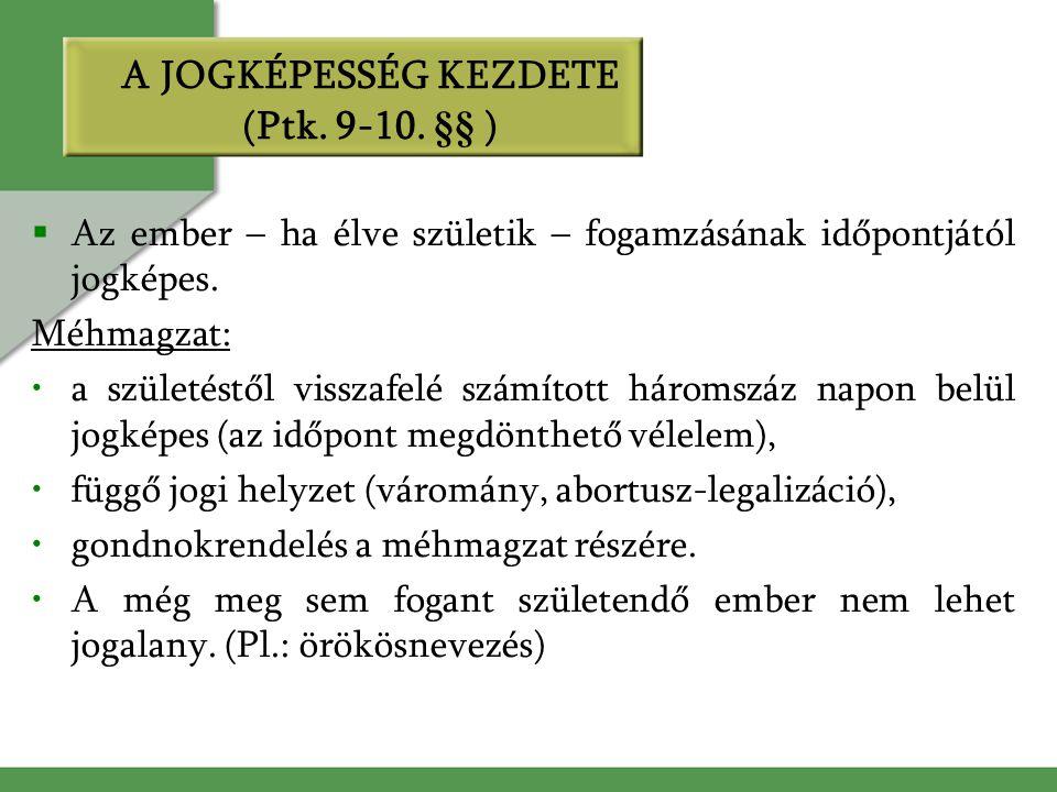 A JOGKÉPESSÉG KEZDETE (Ptk. 9-10. §§ )