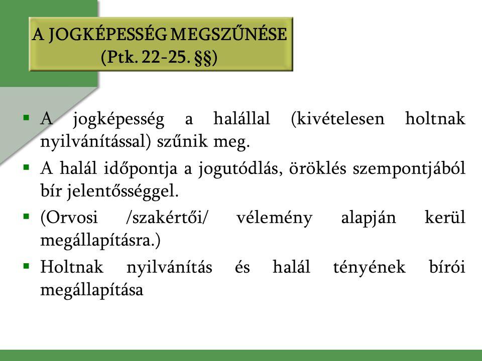 A JOGKÉPESSÉG MEGSZŰNÉSE (Ptk. 22-25. §§)