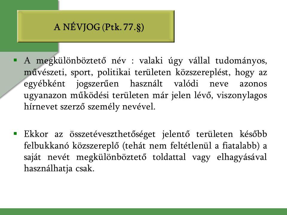 A NÉVJOG (Ptk. 77.§)