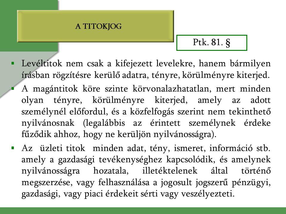 A TITOKJOG Ptk. 81. § Levéltitok nem csak a kifejezett levelekre, hanem bármilyen írásban rögzítésre kerülő adatra, tényre, körülményre kiterjed.