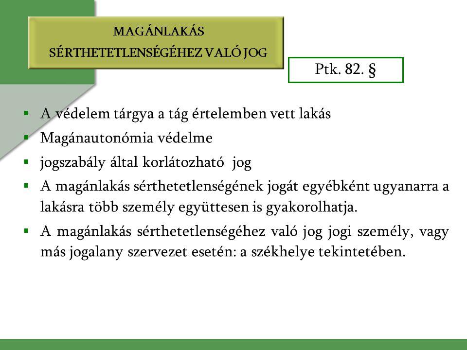 MAGÁNLAKÁS SÉRTHETETLENSÉGÉHEZ VALÓ JOG