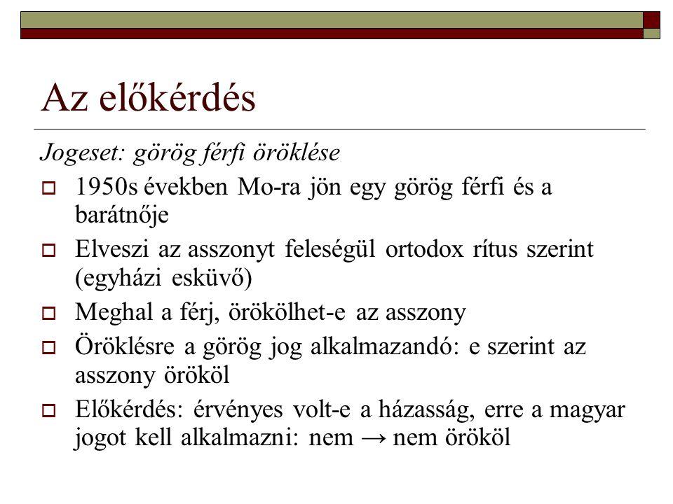 Az előkérdés Jogeset: görög férfi öröklése