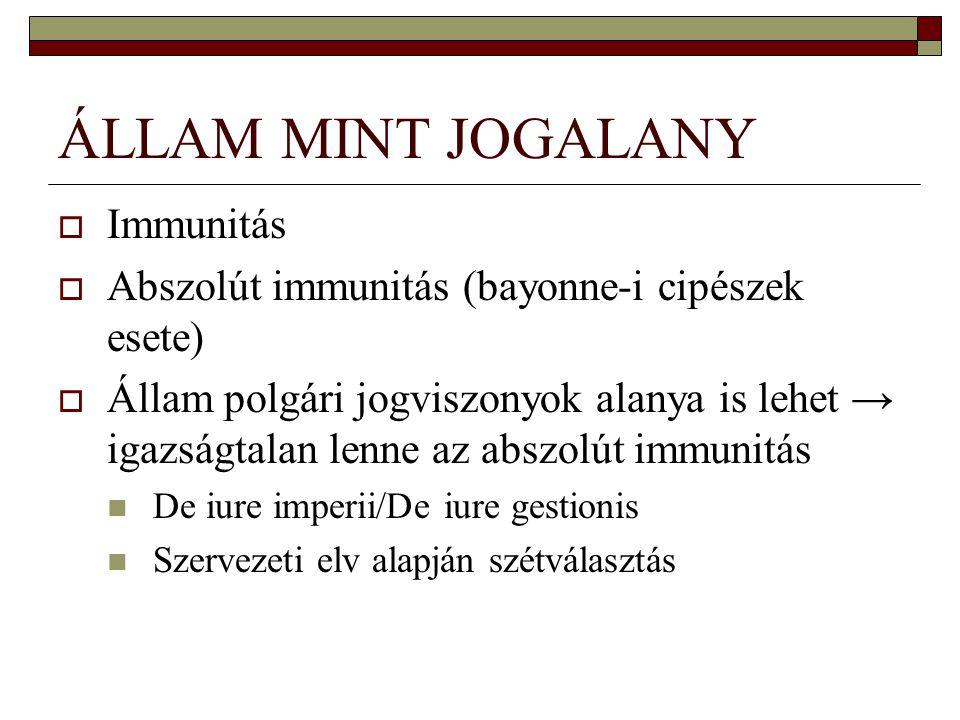 ÁLLAM MINT JOGALANY Immunitás