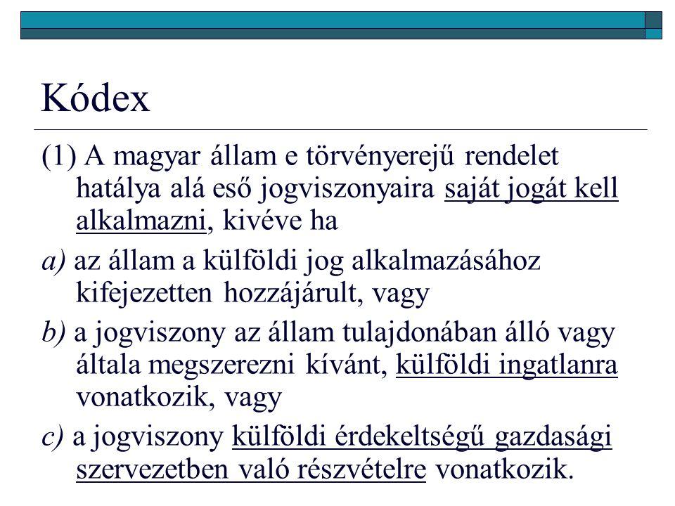 Kódex (1) A magyar állam e törvényerejű rendelet hatálya alá eső jogviszonyaira saját jogát kell alkalmazni, kivéve ha.