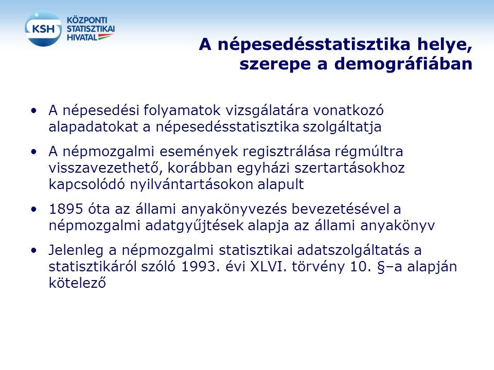 A népesedésstatisztika helye, szerepe a demográfiában