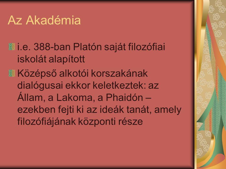 Az Akadémia i.e. 388-ban Platón saját filozófiai iskolát alapított