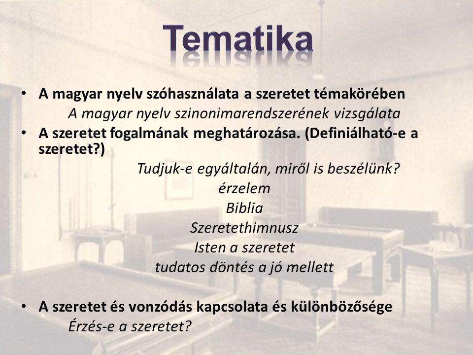Tematika A magyar nyelv szóhasználata a szeretet témakörében