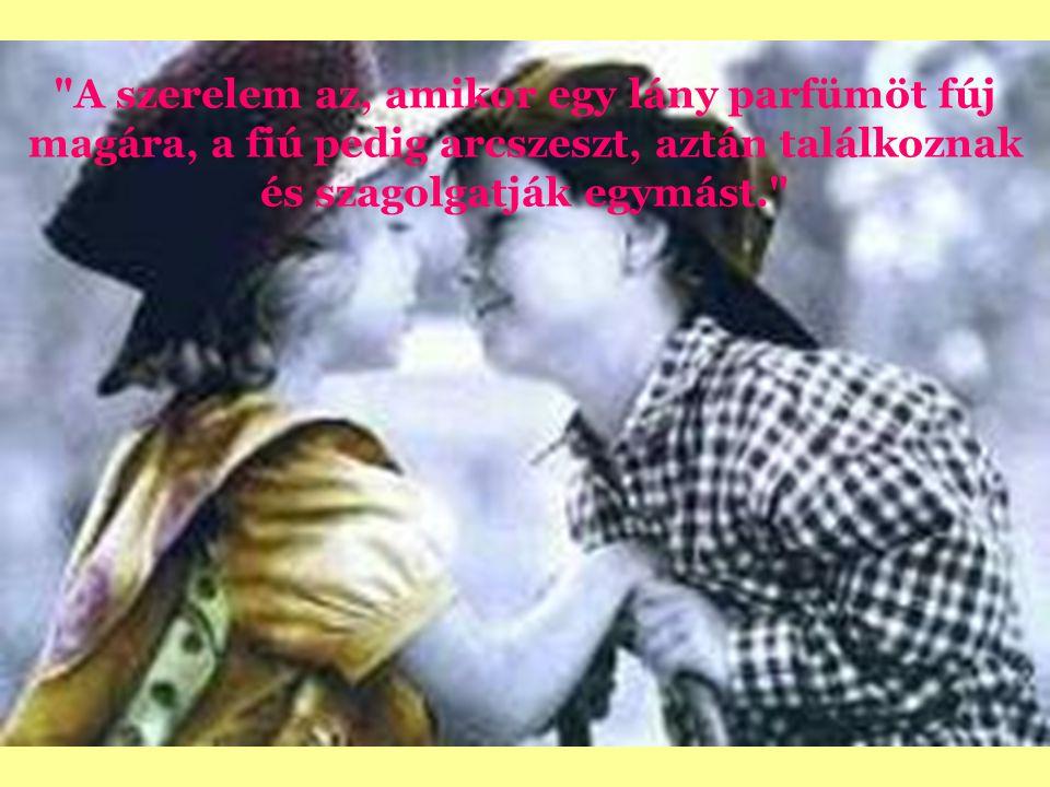 A szerelem az, amikor egy lány parfümöt fúj magára, a fiú pedig arcszeszt, aztán találkoznak és szagolgatják egymást.