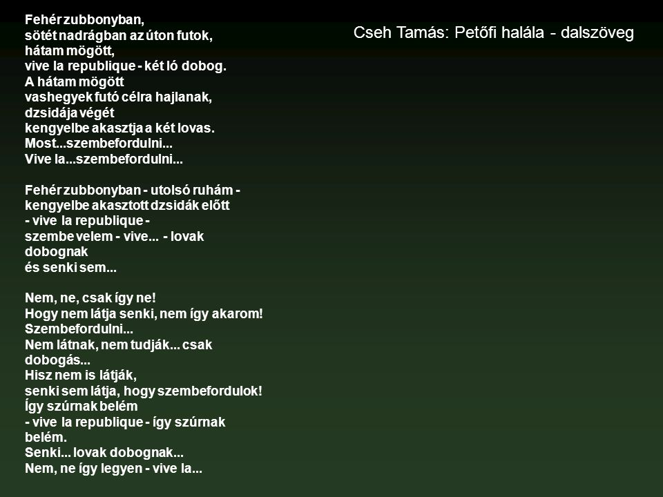 Cseh Tamás: Petőfi halála - dalszöveg