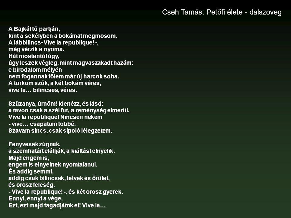 Cseh Tamás: Petőfi élete - dalszöveg