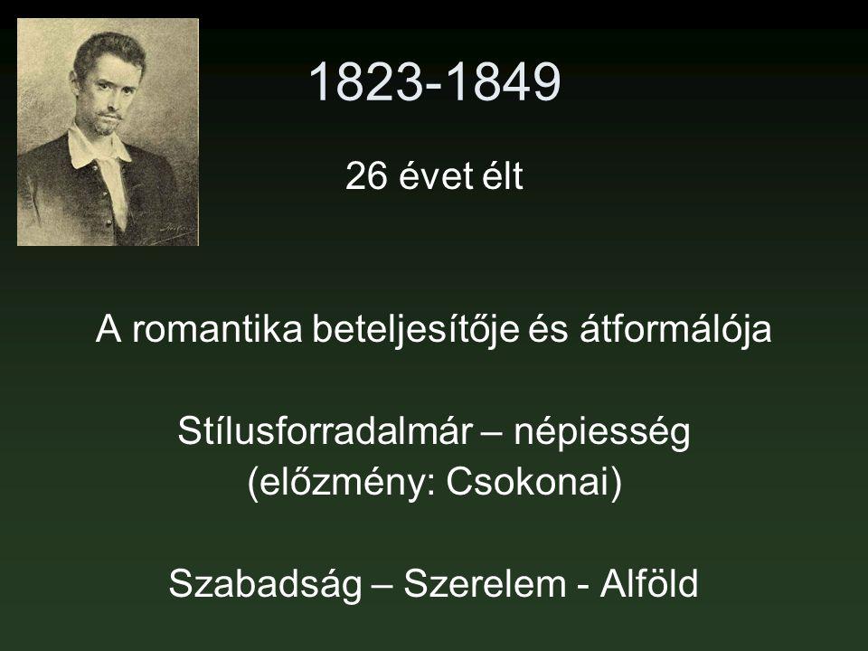 1823-1849 26 évet élt A romantika beteljesítője és átformálója