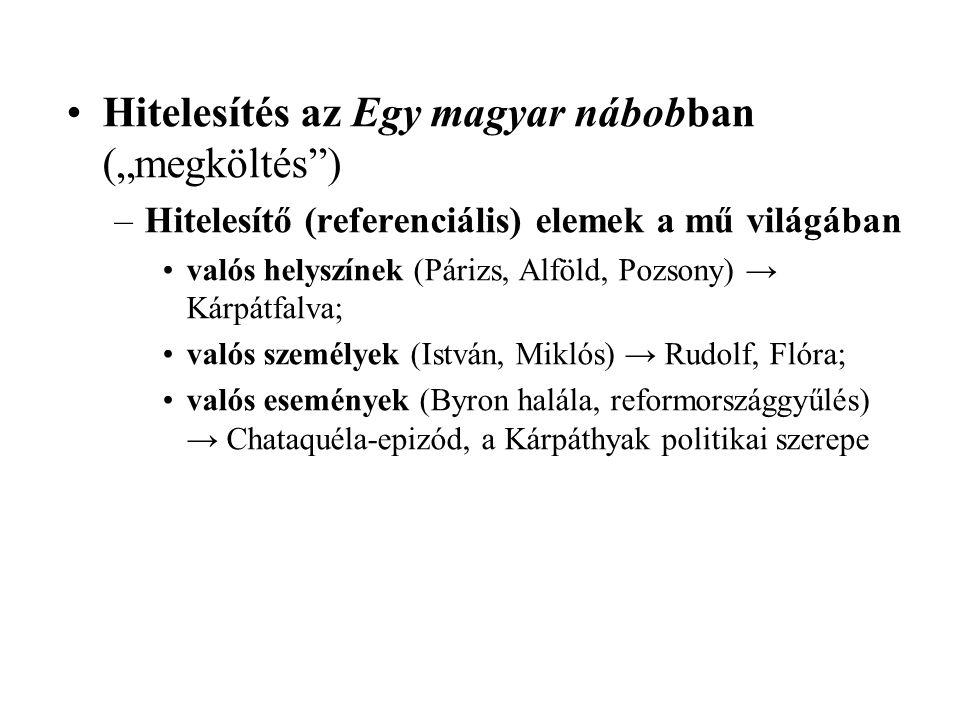 """Hitelesítés az Egy magyar nábobban (""""megköltés )"""
