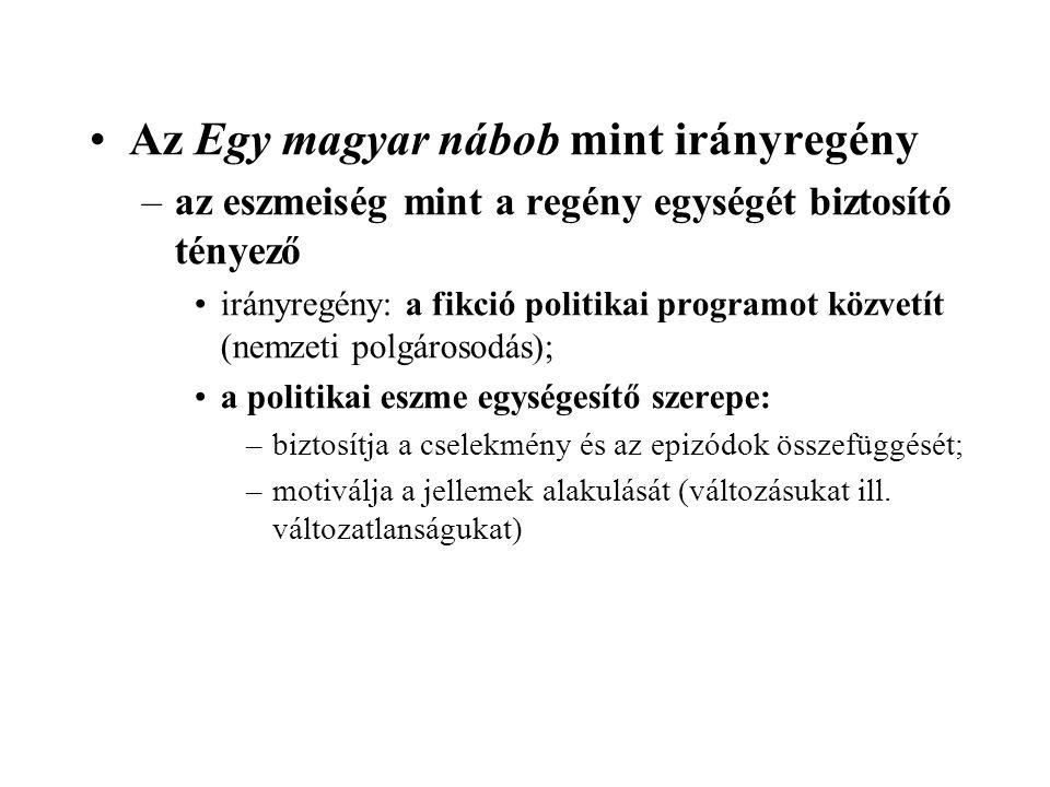 Az Egy magyar nábob mint irányregény