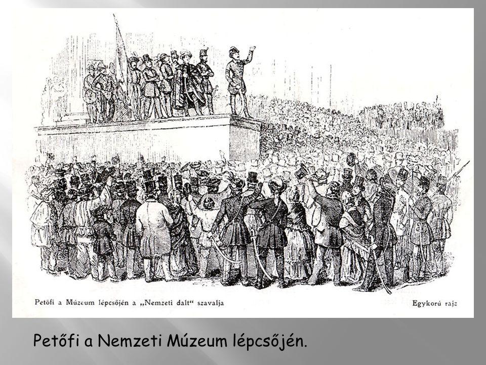 Petőfi a Nemzeti Múzeum lépcsőjén.