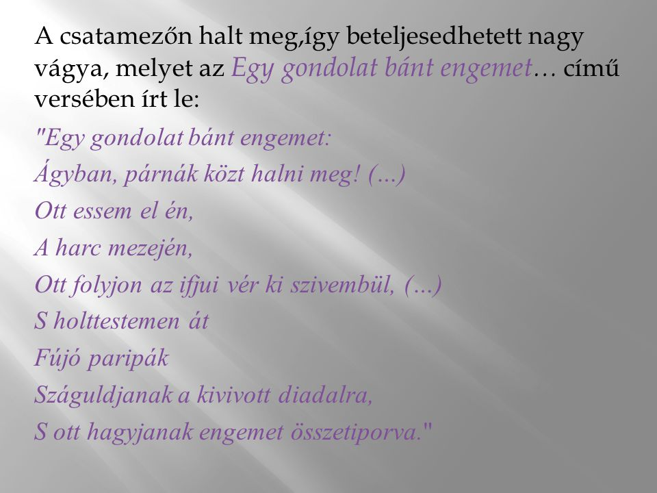 A csatamezőn halt meg,így beteljesedhetett nagy vágya, melyet az Egy gondolat bánt engemet… című versében írt le: