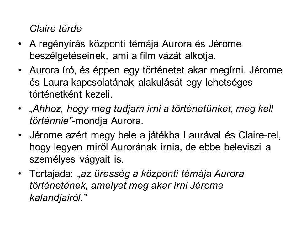 Claire térde A regényírás központi témája Aurora és Jérome beszélgetéseinek, ami a film vázát alkotja.