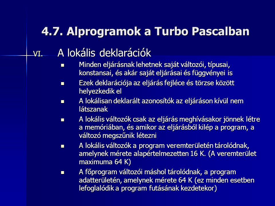 4.7. Alprogramok a Turbo Pascalban