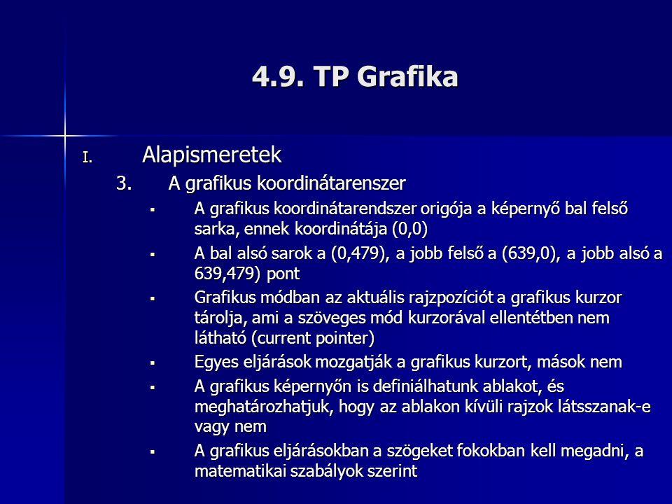 4.9. TP Grafika Alapismeretek A grafikus koordinátarenszer