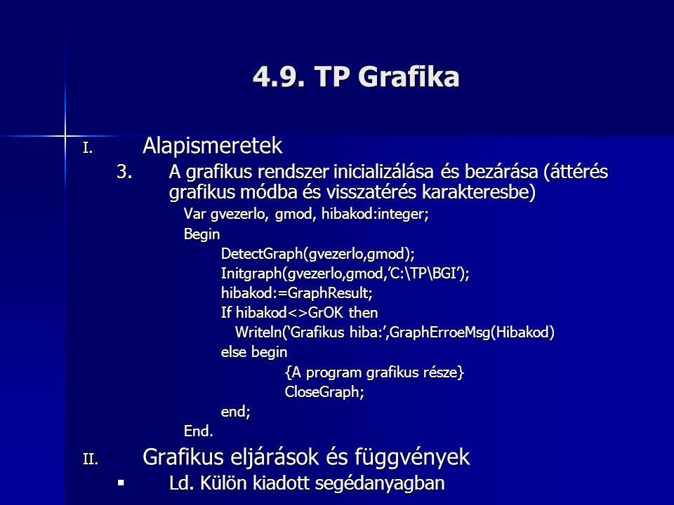 4.9. TP Grafika Alapismeretek Grafikus eljárások és függvények