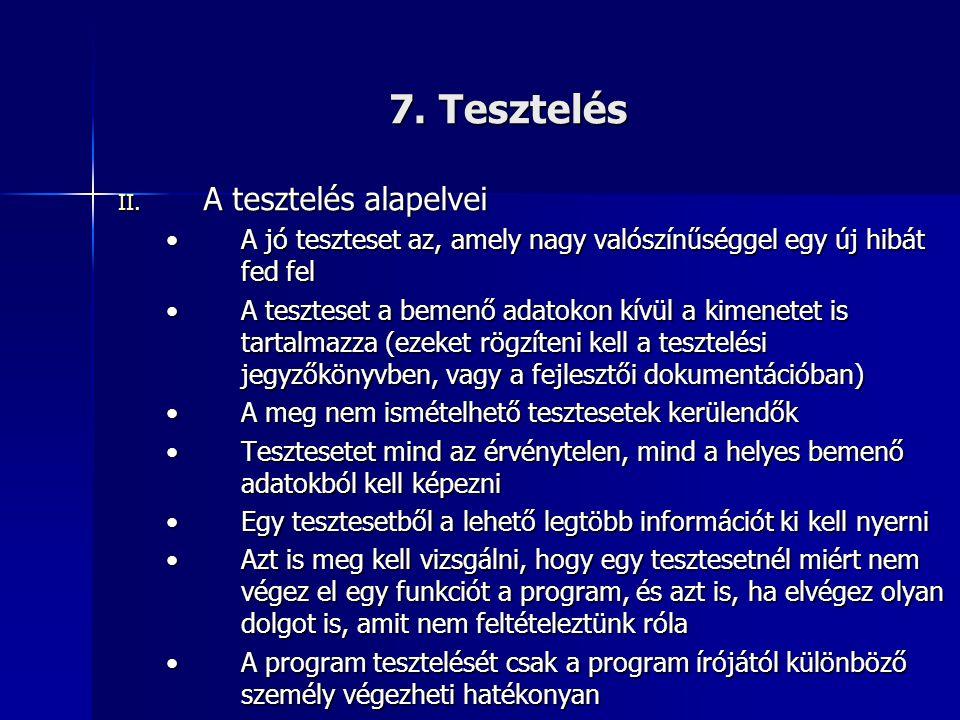 7. Tesztelés A tesztelés alapelvei