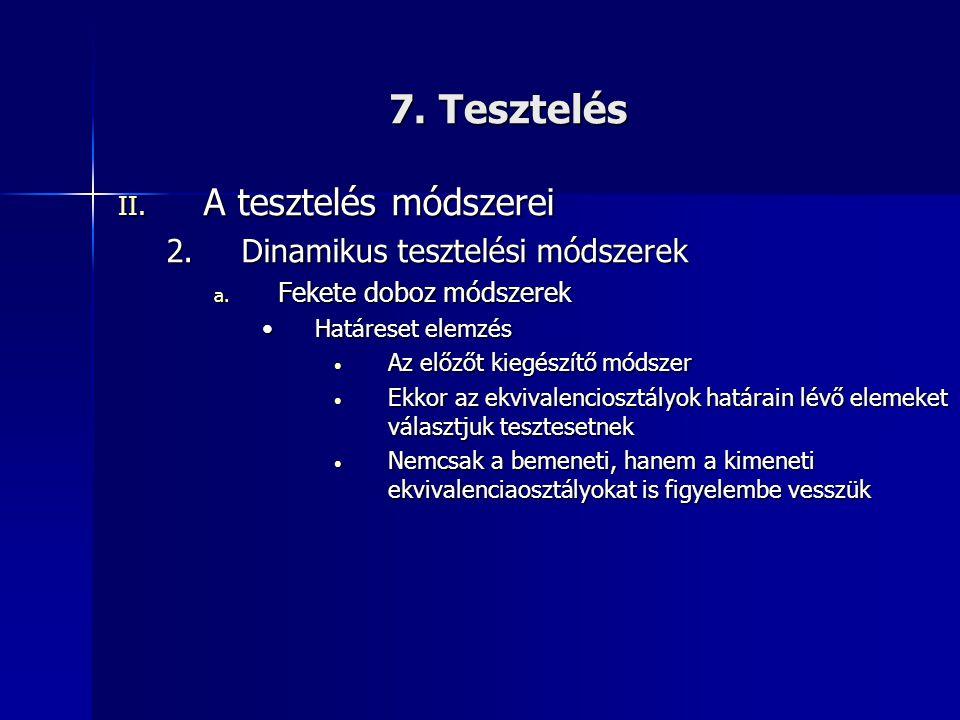 7. Tesztelés A tesztelés módszerei Dinamikus tesztelési módszerek