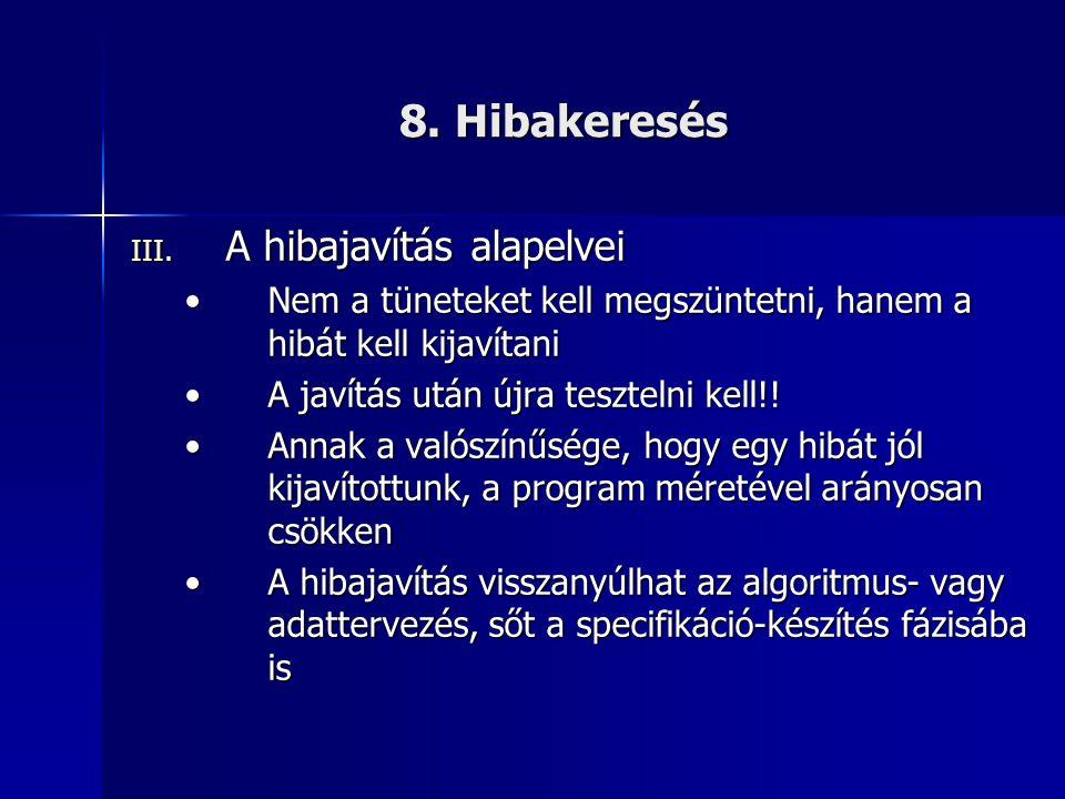 8. Hibakeresés A hibajavítás alapelvei