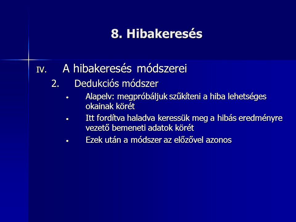 8. Hibakeresés A hibakeresés módszerei Dedukciós módszer