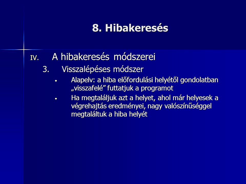 8. Hibakeresés A hibakeresés módszerei Visszalépéses módszer