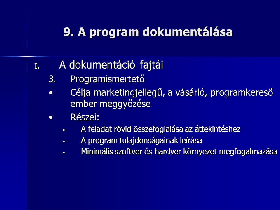 9. A program dokumentálása