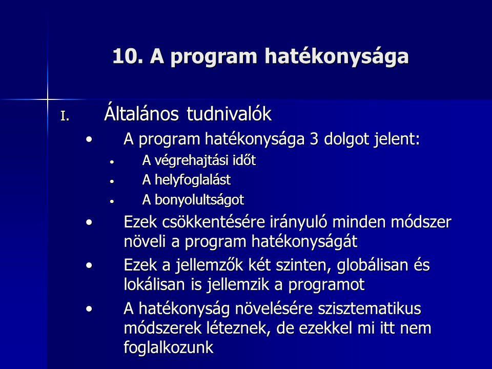 10. A program hatékonysága