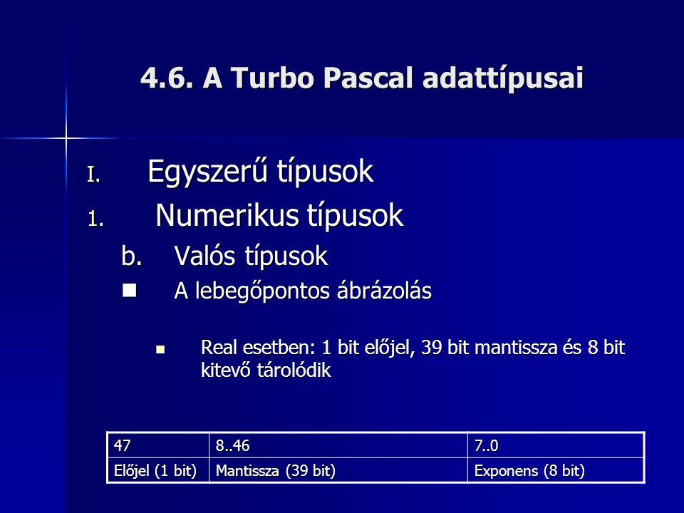 4.6. A Turbo Pascal adattípusai