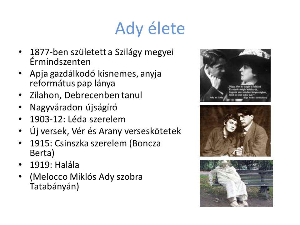 Ady élete 1877-ben született a Szilágy megyei Érmindszenten