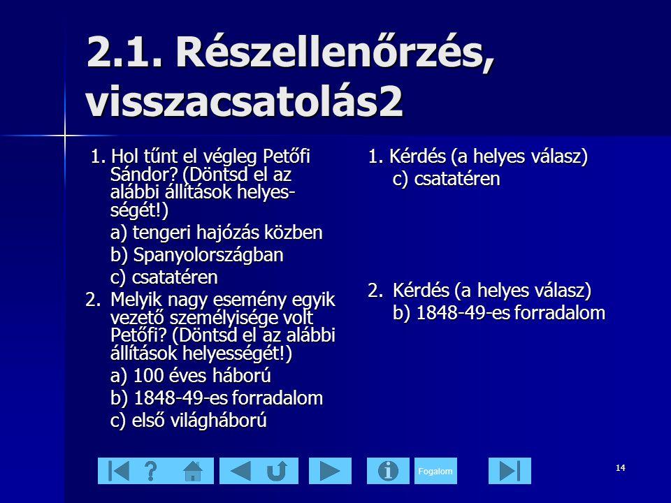 2.1. Részellenőrzés, visszacsatolás2