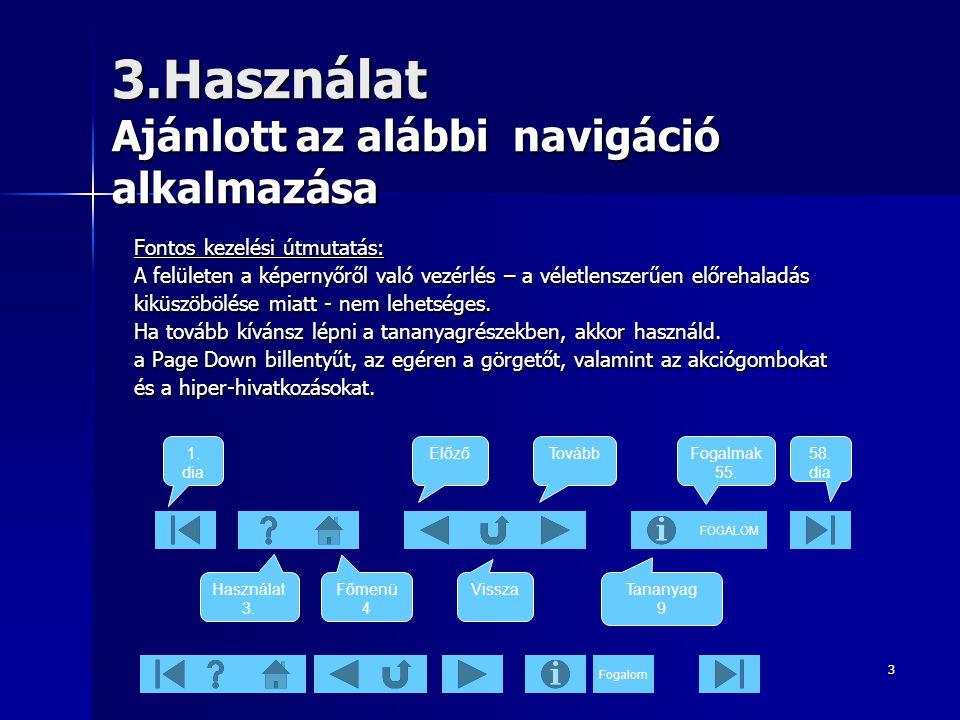 3.Használat Ajánlott az alábbi navigáció alkalmazása