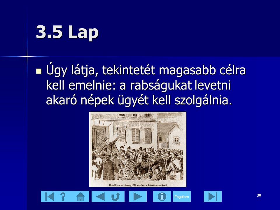 3.5 Lap Úgy látja, tekintetét magasabb célra kell emelnie: a rabságukat levetni akaró népek ügyét kell szolgálnia.