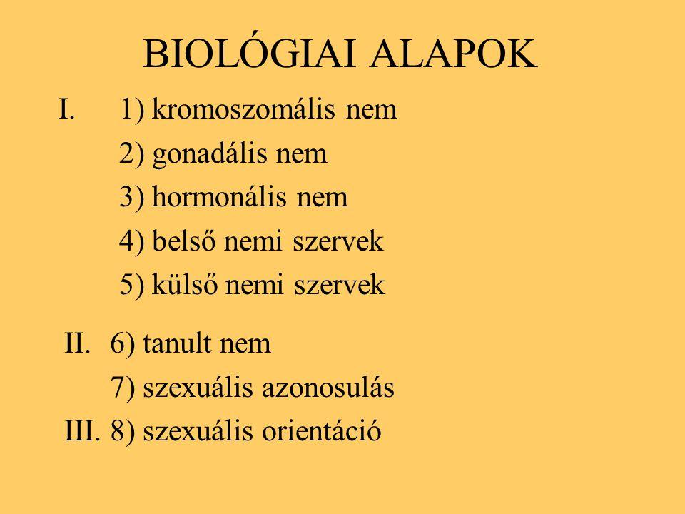BIOLÓGIAI ALAPOK 1) kromoszomális nem 2) gonadális nem